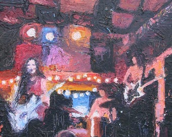 GIRL BAND    original oil knife painting of performing all girl band in club