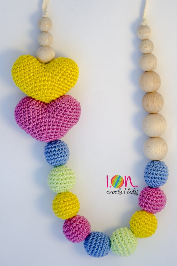 DoubleLove -  Heart Crochet Necklace - Nursing necklace - Teething Necklace