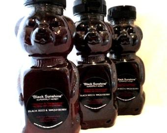 "Black Seed & Maqui Berry ""BLACK SUNSHINE"" Organic Superfruit Honey  - 12oz - Infused, herbal, gourmet wildflower honey, non-GMO"