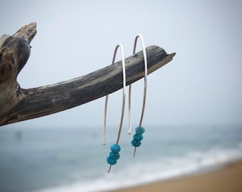 Minimalist wire gemstone earrings sterling silver with apatite or amazonite faceted blue stones