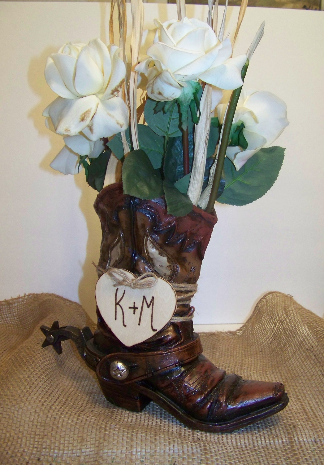 Rustic wedding centerpiece cowboy boot flower vase with wooden zoom floridaeventfo Images