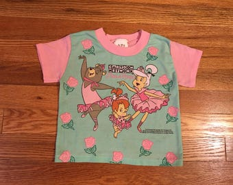 "1994 Cartoon Network ""Dance Troupe"" vintage t-shirt rare toddler youth the Flintstones jetsons yogi bear Nickelodeon cute hipster snick"