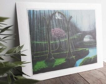 Print. Painting ' The comforter '. Handmade paper.