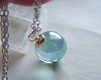 Natural clear quartz crystal ball jewelry pendant aqua aura quartz crystal ball pendant necklace aloadofball Images