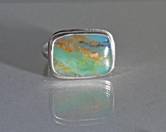 Large Peruvian Opal Ring in Silver, Rectangular Opal Ring, Peru Opal Statement Ring, Size 7 Ring, Ocean Green Opal Ring, October Stone