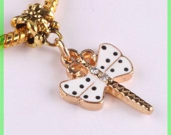 Pearl European bail N447 Butterfly bracelet charms
