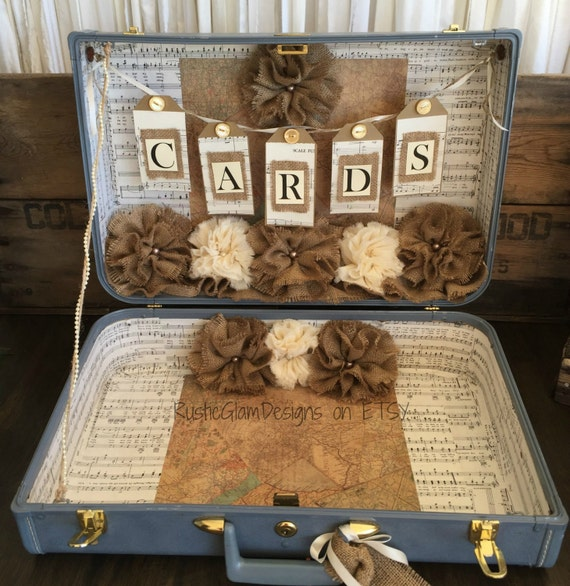 Country Wedding Gift Ideas: Vintage Suitcase Wedding Card Holder Rustic Wedding Gift Table