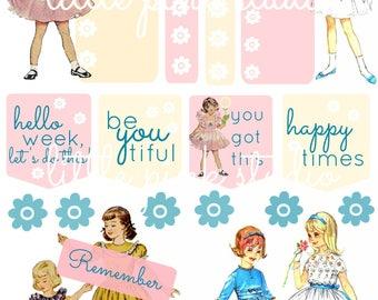 Happy Times, printable planner sticker sheet, vintage style, vintage ephemera