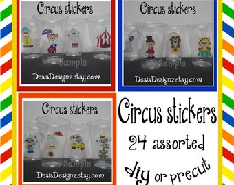 24 Circus Birthday Party stickers baby shower decorations Party stickers Party cup stickers decals favors circus tent decals DIY or Precut