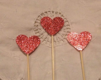 Ruby Red Glitter Heart  Cupcake Cake Toppers - Wedding, Birthday, Event. Set of 10