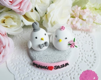 Custom Cake Topper - Cute Love Birds
