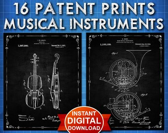 Music Poster Patent Prints Set (Instant Digital Download) - Orchestra Musical Instrument Wall Art Decor Art Musician Gifts Piano Violin 1501