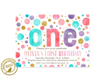Confetti 1st Birthday Invitation | Dot Birthday Invite | 1st Birthday Polka Dot Party |  1st Birthday Digital | Printable DIY | 1552