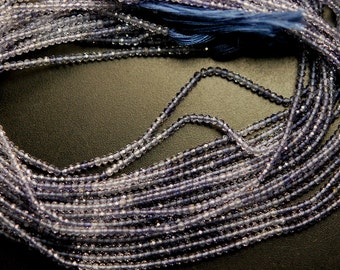 13'' AAA Quality, Super Rare Finest Quality Natural Water Sapphire Iolite Shaded Faceted Rondelles, 2.5mm