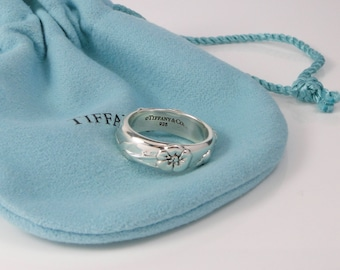 Tiffany & Co Nature Rose Ring Band Sterling Silver Size 5.5