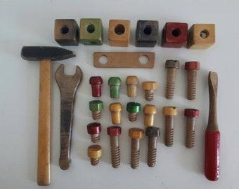 Vintage Wooden Tools Screws Blocks