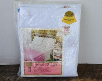 Vintage Twin Fitted Bottom Sheet French Bouquet Sears  NIP