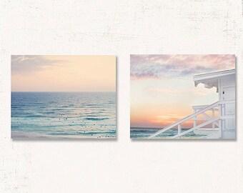 Beach Wall Decor, Beach Wall Art Set, SET OF TWO Prints or Canvases, Beach Photo, Beach at Sunset, Beach Canvas Art, Beach Print Set