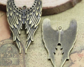 10pcs bronze tone Castiel Angel Wing Charm Pendants 40x22mm ASD0592