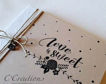 Guestbook marriage { Love is sweet } colors brown and ivory