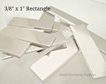 """Pre Tumbled 16G Aluminum 3/8 inch x 1"""" Rectangle Blank Disc Stamping Blanks"""