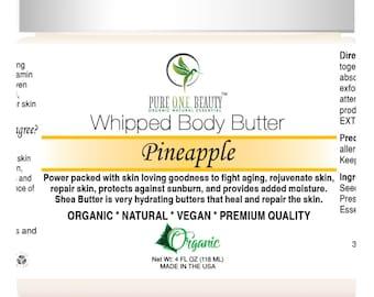 Organic Shea Whipped Body Butter. Pineapple Whipped Body Butter, Pumpkin Coconut Cream Whipped Body Butter; Creamiest Whipped Body Butter
