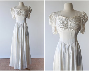 Simple 1940's Liquid Satin Bridal Gown - Romantic Candlelight Satin Wedding Gown - WW2 Wartime Bridal Gown - 1940's Ivory Satin