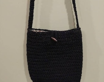 Crochet Purse - Handmade with pocket lining (Black)