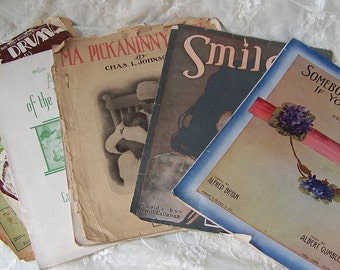 Vintage Distressed Sheet Music (lot of 8)Paper for Crafting.Old Sheet Music.Distressed and Aged Paper.Vintage Piano Music.Scrapbooking.