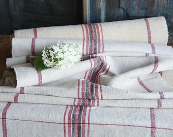 RP 729 antique hemp linen roll faded CHERRY Red, BLACK and Heaven Blue, grainsack fabric 11.80 yards wedding decor lin 19.29wide