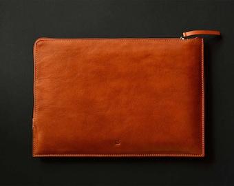 "New MacBook 12"" leather and wool felt zip folio laptop sleeve slim simple black leather grey wool felt lining"