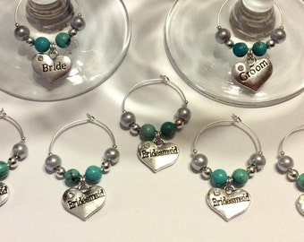 Wedding Wine Glass Charms Top Table Gift Favour Bride Groom (each)