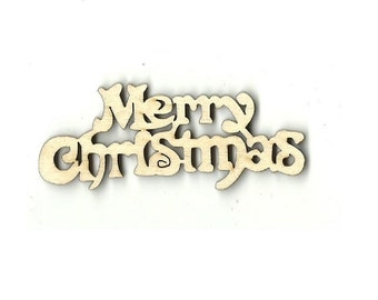 Merry Christmas - Laser Cut Out Unfinished Wood Shape Craft Supply XMS45