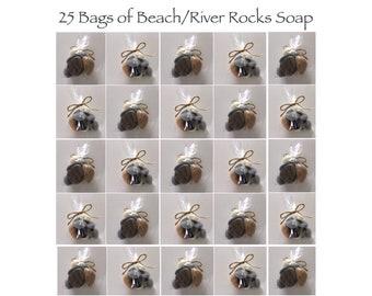 Beach/River Rocks Soap, 25 Bags,Handmade In Maine, Beach Theme, Rustic, Wedding Favor,  Country/Lake Theme,  Weddings, CUSTOM ORDERS WELCOME