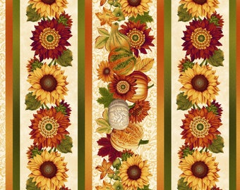 Henry Glass - Harvest Gathering - Border Stripe - Cream - Fabric by the Yard 8775-44