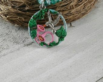Hummingbird Necklace - Flower Necklace - Light Blue Necklace