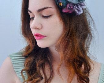 Blue and Purple Flower Hair Clip | Blue Bridal Headpiece | Floral Headpiece | Bridal Hair Clip | Flower Headpiece | Peony Hair Clip