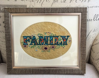 Embroidered FAMILY picture in oval mount and frame