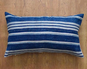 "African Indigo Striped Mudcloth Pillow Cover, 12"" x 22"" Lumbar Mudcloth Pillow Cover"