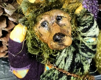 Dog Animal Spirit Doll, Wicca, Green witch earth magick, OOAK Art Doll, Handcrafted pagan item