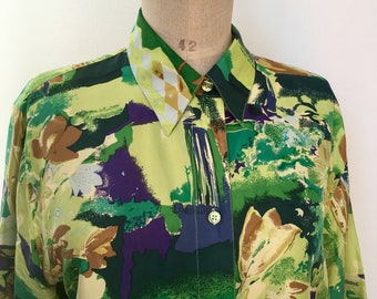 80s green and yellow shirt