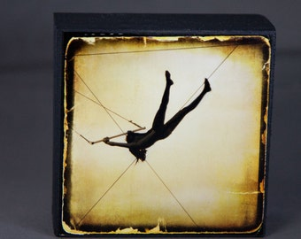 Gold Silhouette Circus Trapeze Photograph on Wood Panel--Just Like Flying--4x4 Fine Art