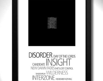 JOY DIVISION - Unknown Pleasures Album Limited Edition Unframed A4 Art Print with Song Titles
