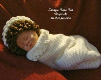 Angel Cocoon and Halo hat Crochet Pattern PDF 402