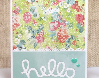Hello Card- Spring Card- Floral Card- Thinking of You Card- Any Occasion Card- Cards for Her