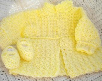 Newborn Girl's Yellow Crocheted Sweater &  Maryjanes 0 3 mo