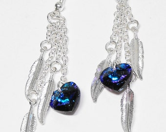 Heart's Flight: Heliotrope Swarovski Crystal Silver Plated Dangle, Hook Earring