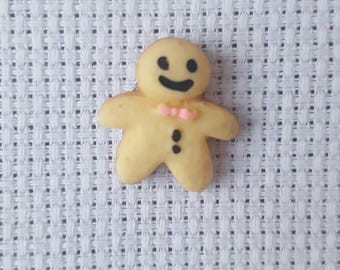 Cute gingerbread man needleminder, needle minder, needle nanny, magnetic needlework accessory for cross stitch, embroidery, tapestry, etc