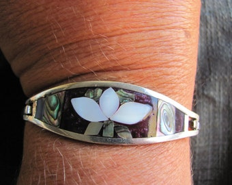 VIntage Mexican Silver Bracelet With Inlay