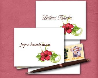 Hibiscus Note Cards with Customized Name, Personalized Stationery, Hawaiian Note Cards, Floral Cards, Made To Order, Blank Cards, Set of Ten